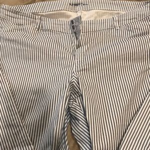 Women's blue and white striped pixie pants